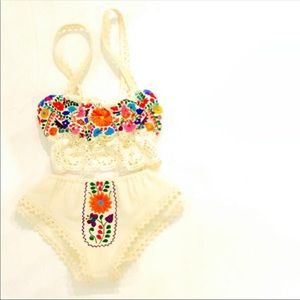 Mexican Lingerie Embroidered Bra Top Bottom